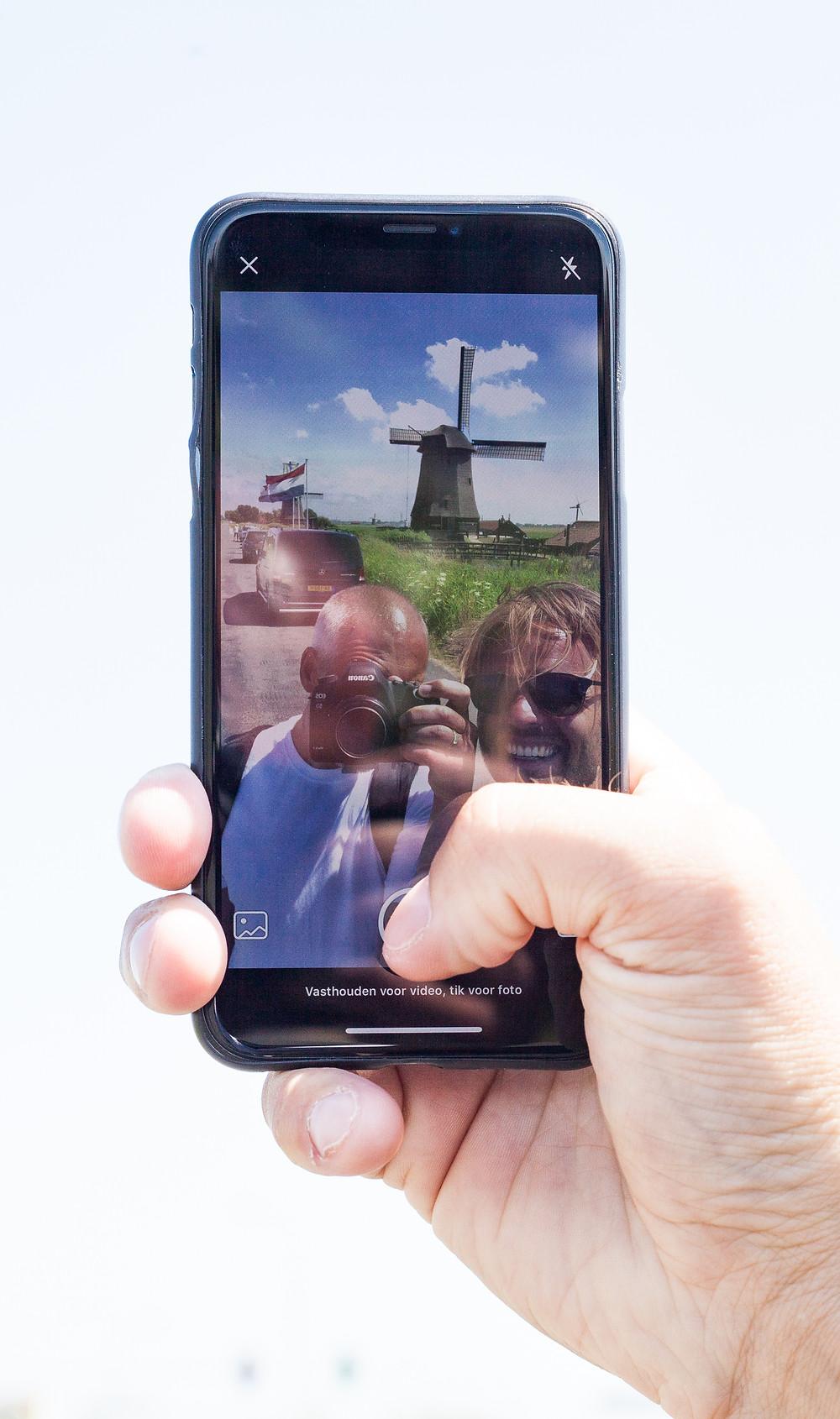 Een selfie tijdens de productie voor Laag Holland in Schermerhorn.