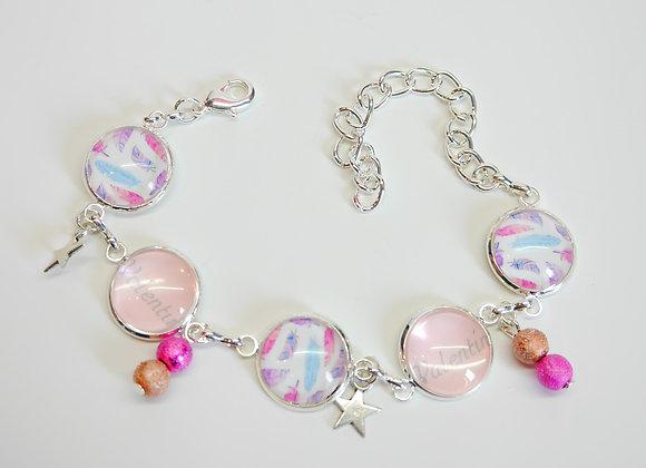 Bracelet cabochon, motifs plumes rose à personnaliser