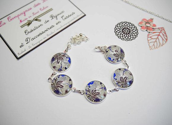 """Bracelet cabochon """"fleurs""""gris, noir et bleu"""