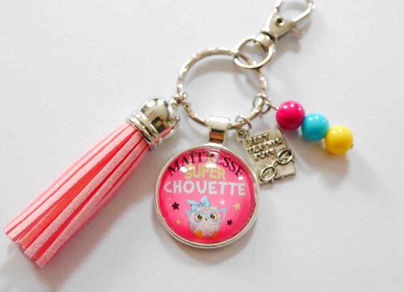 "Porte clé rose,""maîtresse super chouette"""""