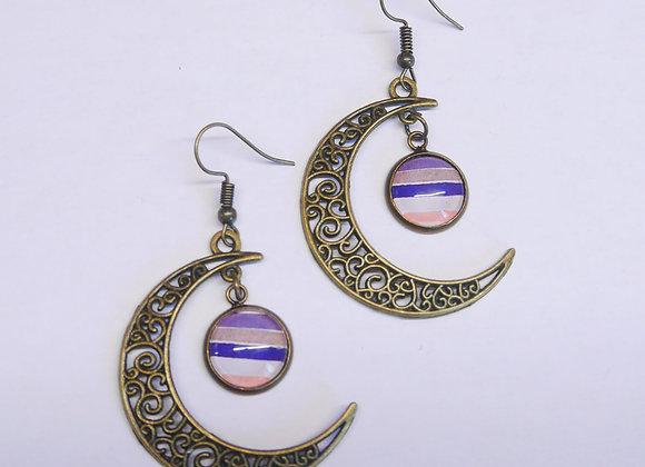 "Boucle d'oreille crochet lune, motif ""rayures"""