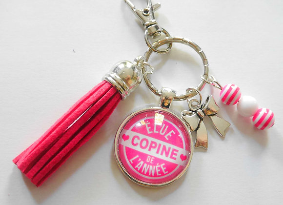 """Porte clé rose , """"élue copine de l'année"""""""