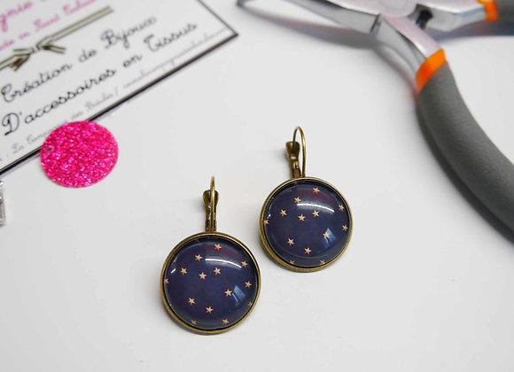 Boucle d'oreille, cabochon, la compagnie des bidules, st calais, bijoux tendance, mode, bleu marine pois or