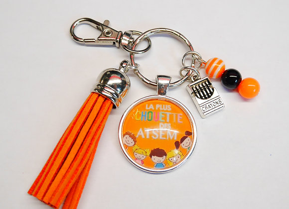 Porte clé orange la plus chouette des atsem