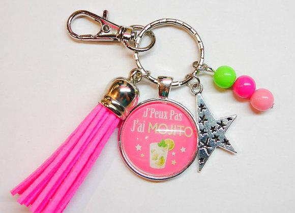 Porte clé rose, j'peux pas j'ai mojito