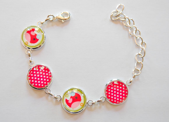 """Bracelet enfant """"oiseaux et pois rouge"""""""