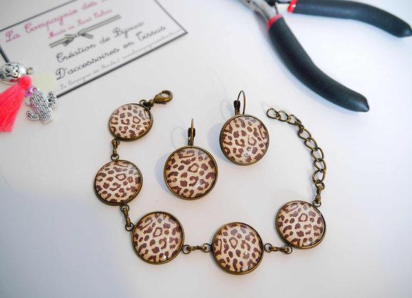 Parure bracelet et boucle d'oreille leopard
