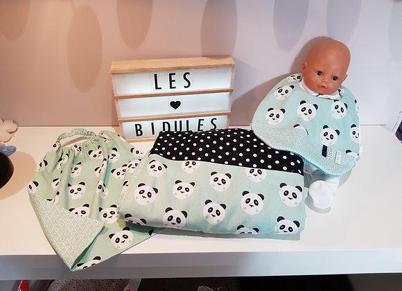 Ensemble bébé couverture, bavoir et serviette élastiquée motif panda