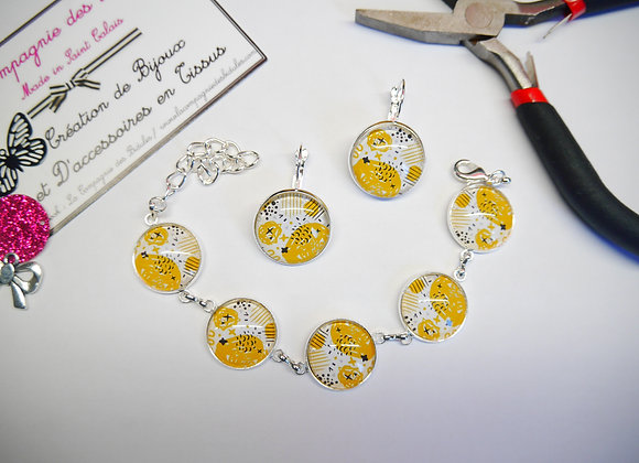 parure ensemble bijoux jaune moutarde bracelet