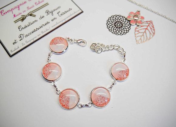 """Bracelet cabochon """"rose paillette"""""""