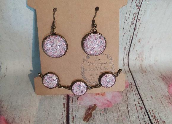 Parure bracelet et boucle d'oreille fleuri rose et violet