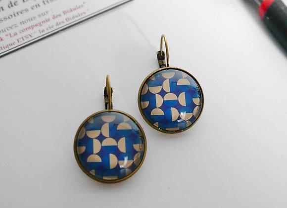 la compagnie des bidules boucles d'oreille cabochon sarthe bleue et beige bronze