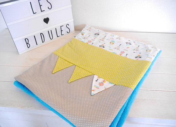 couverture bebe, cadeau naissance, cadeau bebe, tissu pois taupe, pois vert, raton laveur