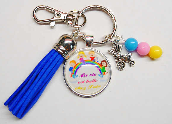 Porte clé bleu la vie est belle chez tata