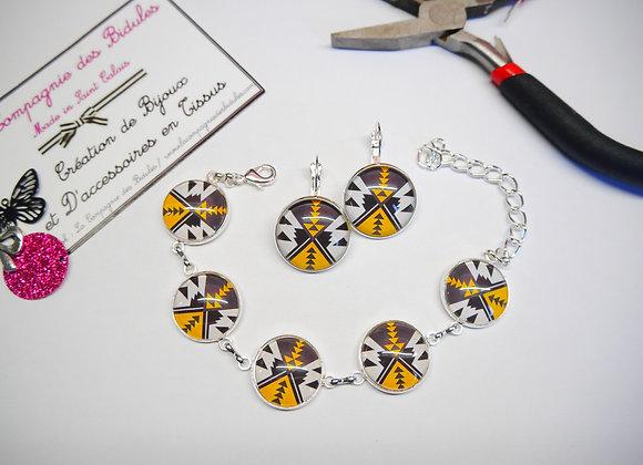 Parure bracelet et boucle d'oreille ethnique jaune moutarde et noir, ensemble cadeau