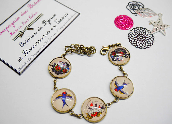 bracelet, bijoux tendance, cabochon, idee cadeau, st calais, sarthe, la compagnie des bidules, tatoo