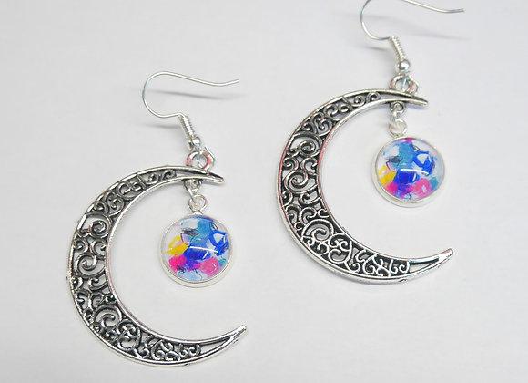 """Boucle d'oreille crochet lune, motif """"coloré"""""""