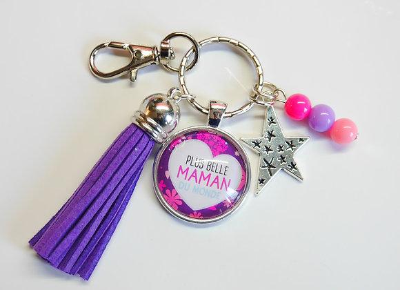 Porte clé violet, la plus belle maman du monde