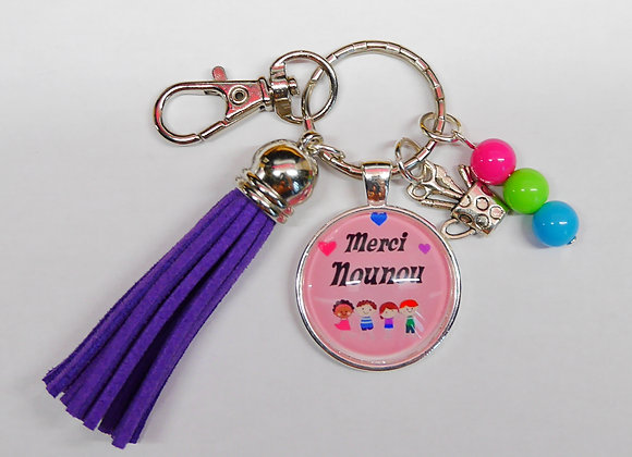 Porte clé violet merci nounou