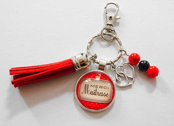 """Porte clé rouge,""""merci maîtresse"""""""