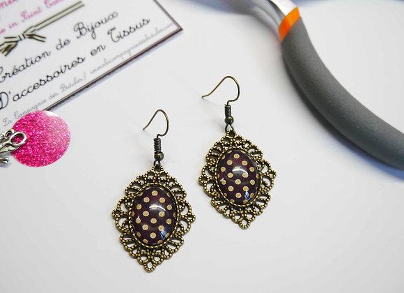 Boucle d'oreille, cabochon, bijoux tendance, la compagnie des bidules, st calais, mode ete, noir et or