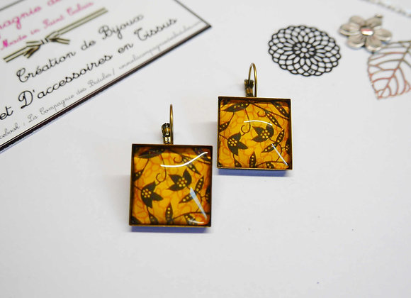 Boucle d'oreille, cabochon, bijoux tendance, la compagnie des bidules, st calais, mode ete, wax jaune