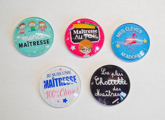 Magnets pour réfrigérateur cadeau maîtresse thème école