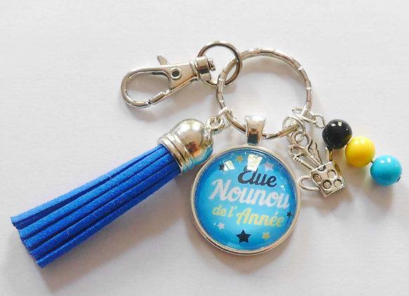 Porte clé bleu et jaune, élue nounou de l'année