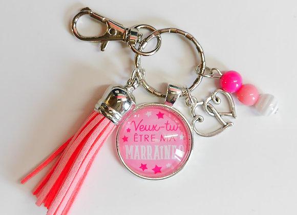 Porte clé rose, veux tu être marraine?