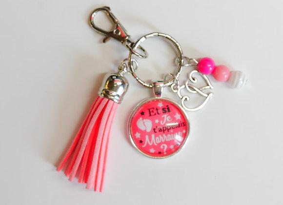Porte clé rose, et si je t'appelais marraine