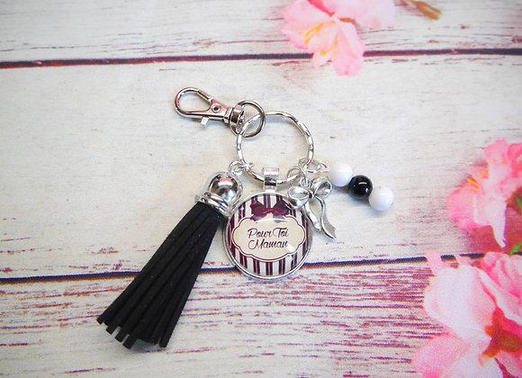 """Porte cles, bijoux de sac """"pour toi maman"""" noir et noir"""