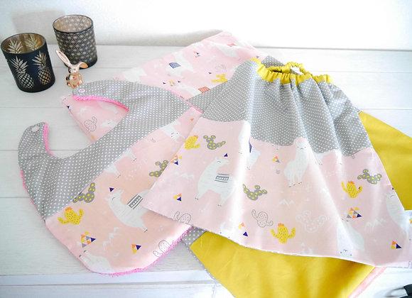 Ensemble bébé couverture, bavoir et serviette élastique, motif lama, pois gris,
