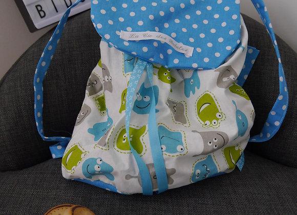 sac à dos, cartable, sac d'ecole, tissu fleurs, tissus pois, saint calais, sarthe, , cadeau d'anniversaire