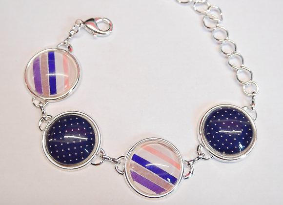 Bracelet cabochon, motifs pois et rayures