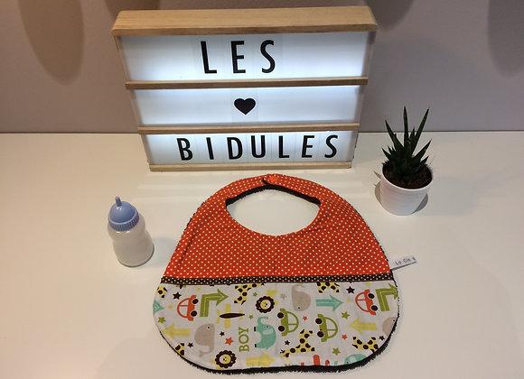 "Bavoir éponge marron motifs""boy""pois orange"