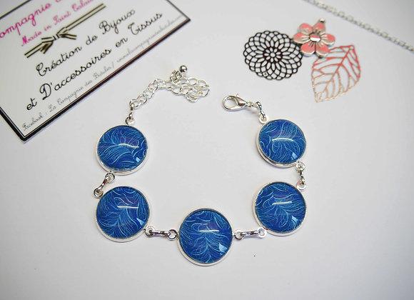 """Bracelet cabochon """"plume"""" bleue"""
