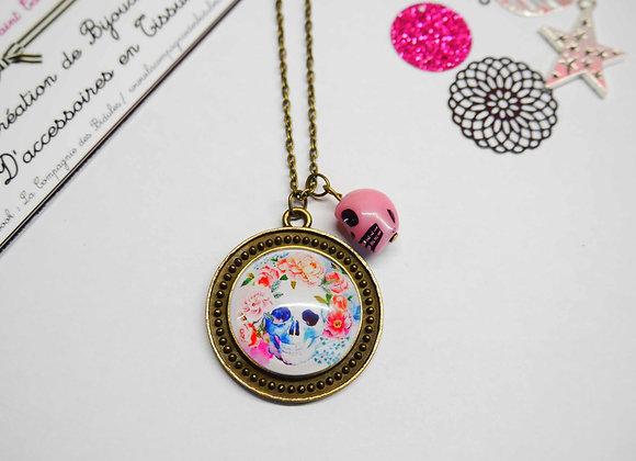 collier, cabochon, bijoux tendance, la compagnie des bidules, st calais, mode ete, tete de mort fleuri