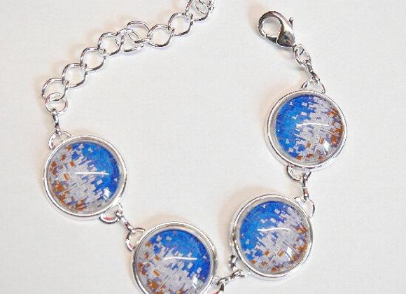 Bracelet cabochon, motifs graphiques bleus et gris