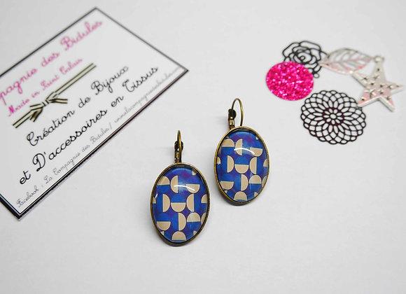 Boucle d'oreille, cabochon, bijoux tendance, la compagnie des bidules, st calais, mode ete, bleue et beige