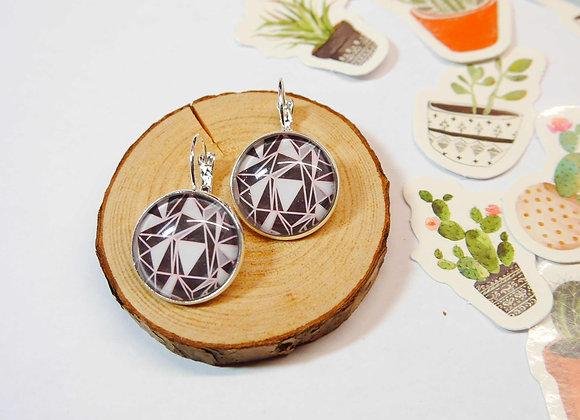 boucle d'oreille dormeuse argent geometrique, rose, noire et gris, idee cadeau de noel