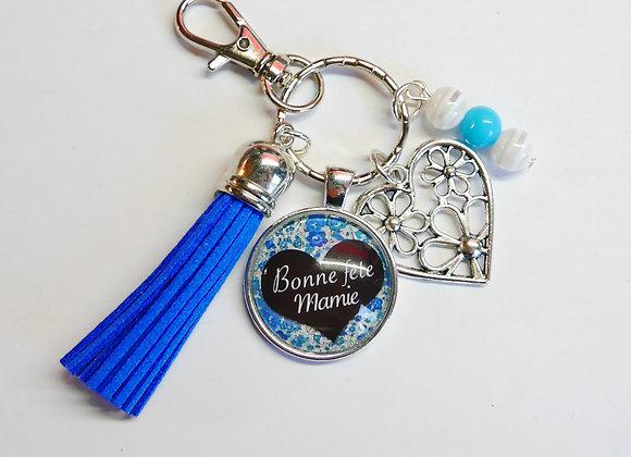 Porte clé bleu, bonne fete mamie