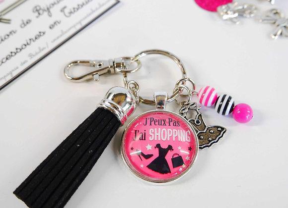 Porte clé noir et rose j'peux pas j'ai shopping