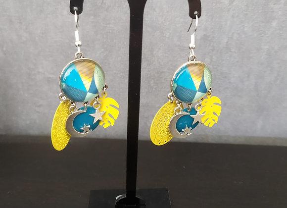 """Boucle d'oreille breloque et pampilles """"jaune et bleu turquoise"""""""