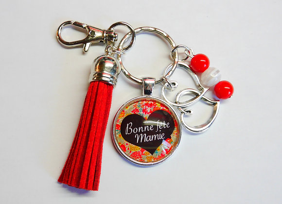 Porte clé rouge, bonne fête mamie