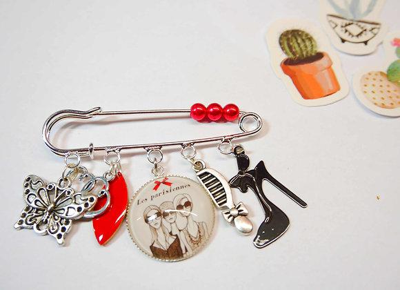 GRande broche argent, breloque, perle,les parisiennes, cadeau original, cadeau de noel unique, la compagnie des bidules