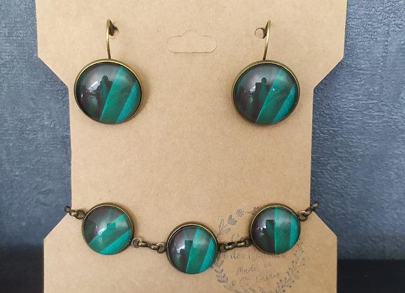Parure bracelet et boucle d'oreille vert