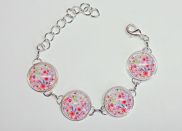 Bracelet cabochon, motif fleuri