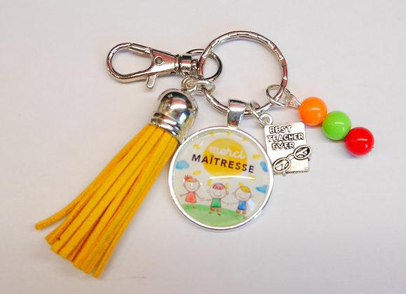 Porte clé multicolore, cadeau maitresse.