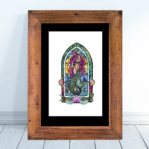 Stained Glass Inspired Mermaid Art Print