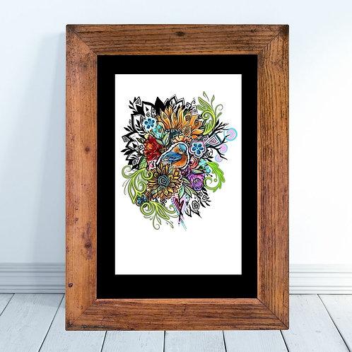 Bird and Floral Graffiti Inspired Art Print
